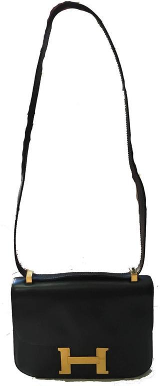 Hermes Vintage Black Leather Constance Shoulder Bag  7