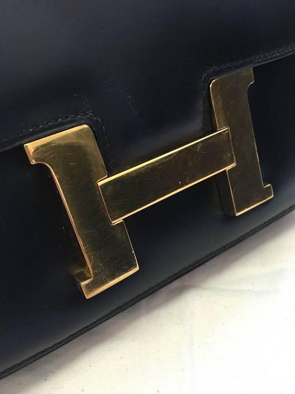 Hermes Vintage Black Leather Constance Shoulder Bag  6