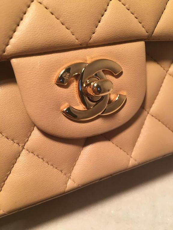 "Chanel Nude Lambskin 10"" 2.55 Double Flap Classic Shoulder Bag 5"