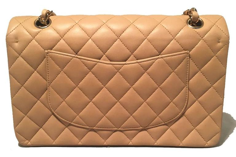 "Chanel Nude Lambskin 10"" 2.55 Double Flap Classic Shoulder Bag 2"