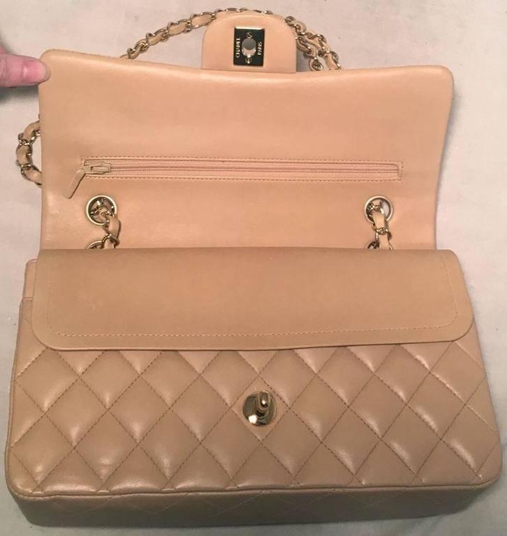 "Chanel Nude Lambskin 10"" 2.55 Double Flap Classic Shoulder Bag 6"