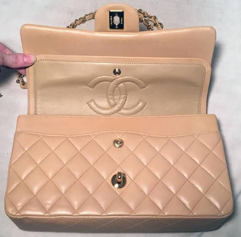 "Chanel Nude Lambskin 10"" 2.55 Double Flap Classic Shoulder Bag 7"