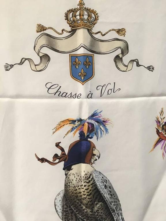 Hermes Vintage Chasse a Vol Silk Scarf c1960s  5