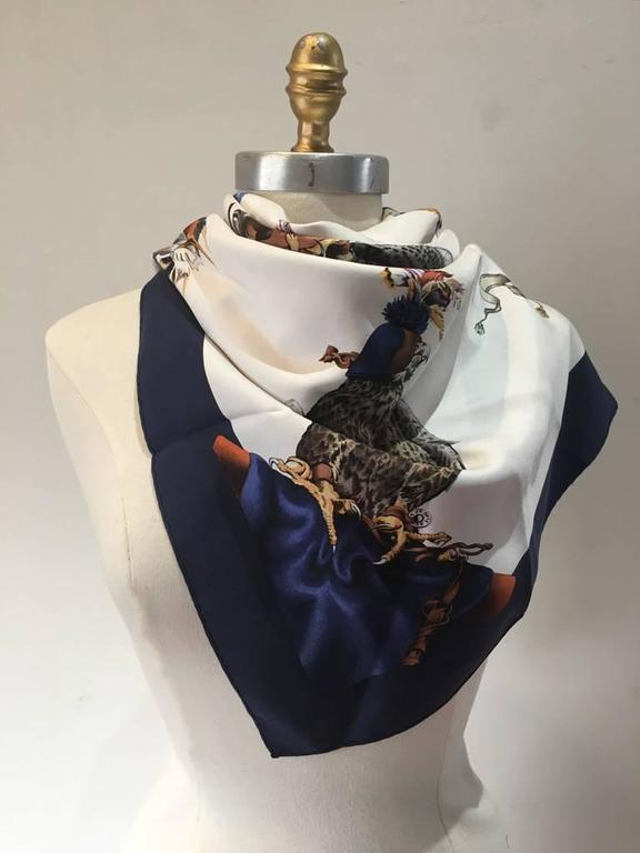 Hermes Vintage Chasse a Vol Silk Scarf c1960s  3