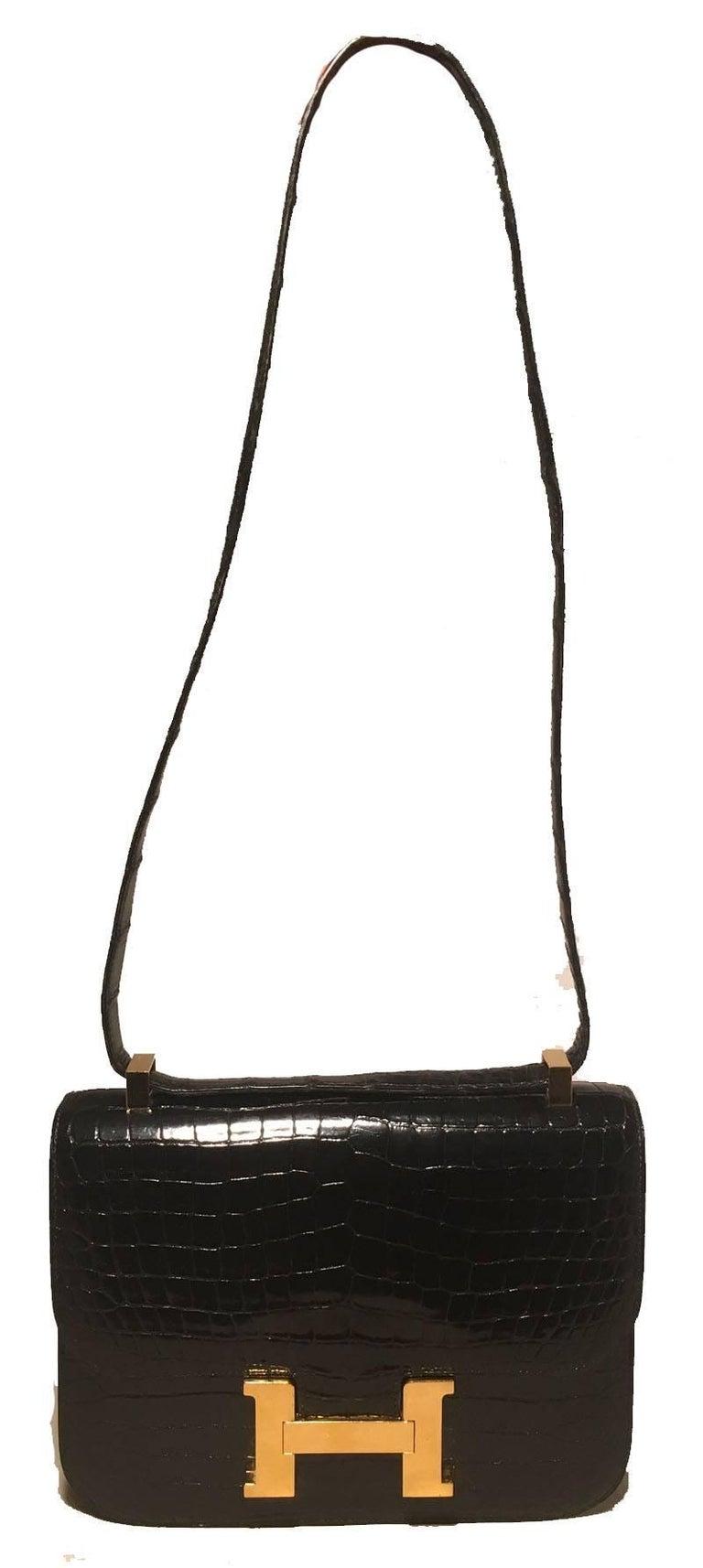 Hermes Black Crocodile Constance Shoulder Bag Rare In Good Condition For Sale In Philadelphia, PA