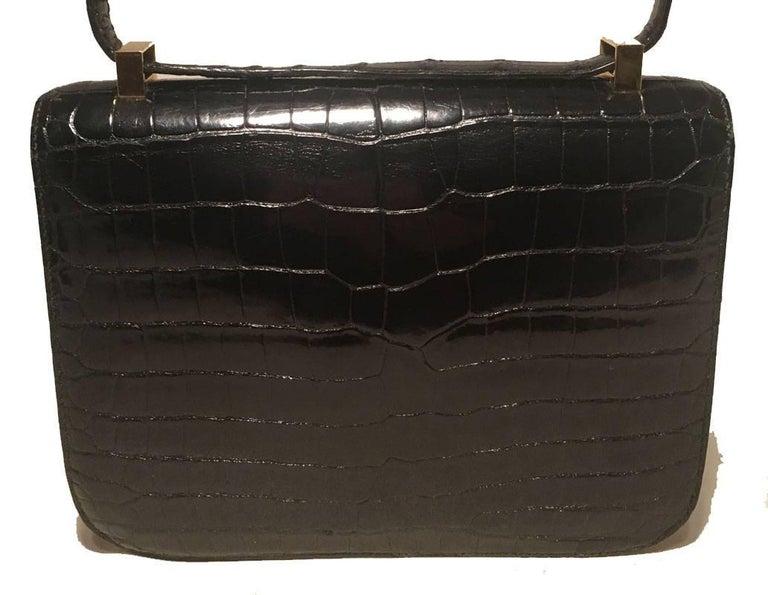 Hermes Black Crocodile Constance Shoulder Bag Rare For Sale 1