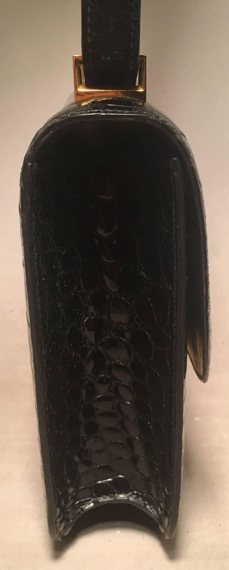 Women's Hermes Black Crocodile Constance Shoulder Bag Rare For Sale