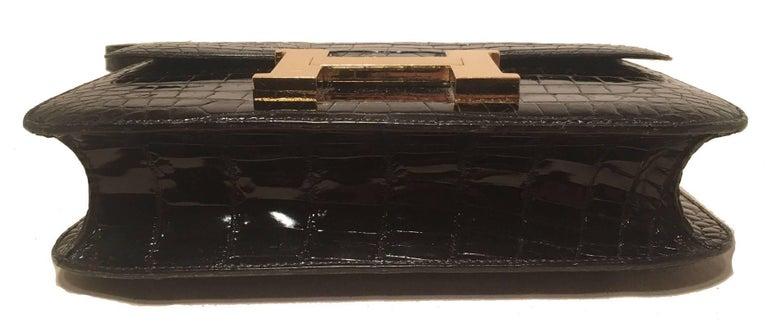 Hermes Black Crocodile Constance Shoulder Bag Rare For Sale 2