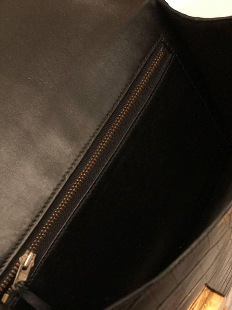Hermes Black Crocodile Constance Shoulder Bag Rare For Sale 4