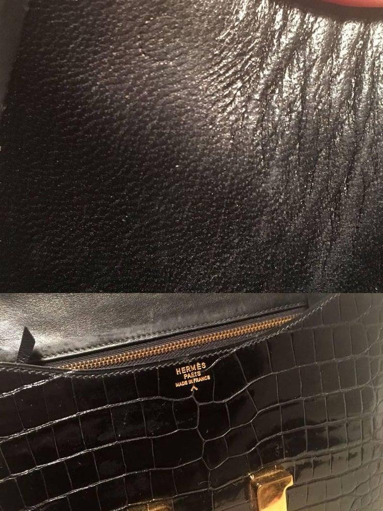 Hermes Black Crocodile Constance Shoulder Bag Rare For Sale 6