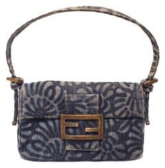 Fendi denim floral mini baguette