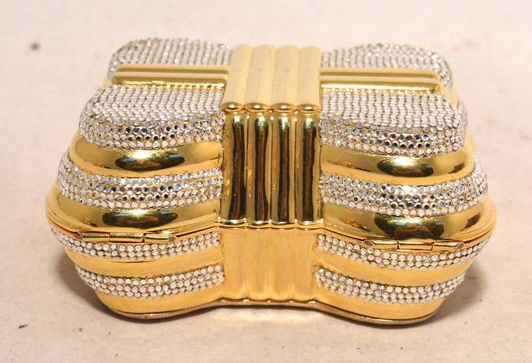 Judith Leiber Gold & Clear Swarovski Crystal Casket Minaudiere For Sale 2