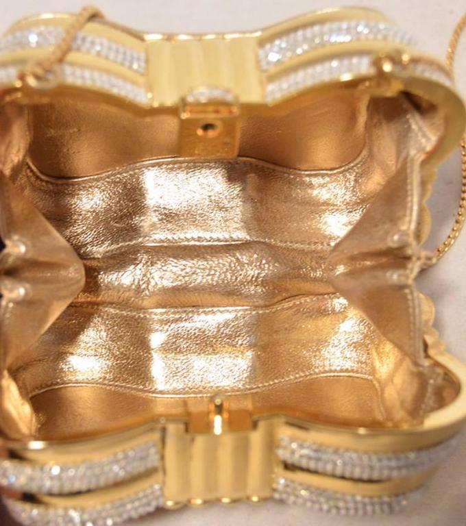 Judith Leiber Gold & Clear Swarovski Crystal Casket Minaudiere In Excellent Condition For Sale In Philadelphia, PA