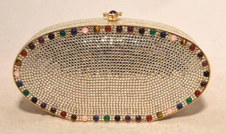 Judith Leiber Swarovski Crystal Oval Multicolored Gem Minaudiere 6