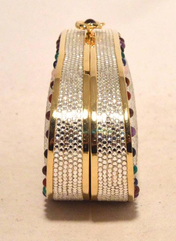 Judith Leiber Swarovski Crystal Oval Multi-colored Gem Minaudiere 2
