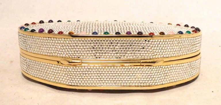 Judith Leiber Swarovski Crystal Oval Multi-colored Gem Minaudiere 3