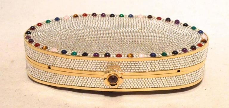 Judith Leiber Swarovski Crystal Oval Multicolored Gem Minaudiere 5