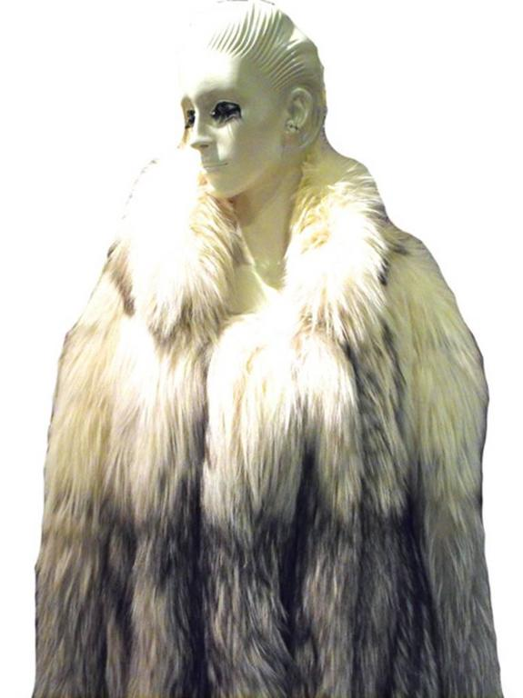Stunning Womens Blue Fox Fur Coat Size Large-rare 2