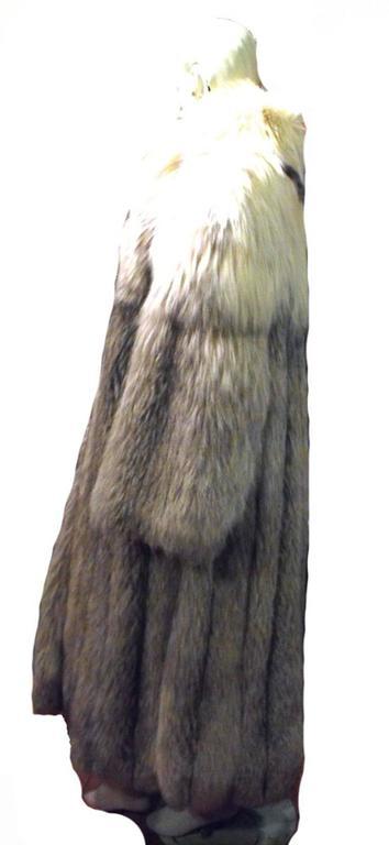 Stunning Womens Blue Fox Fur Coat Size Large-rare 5
