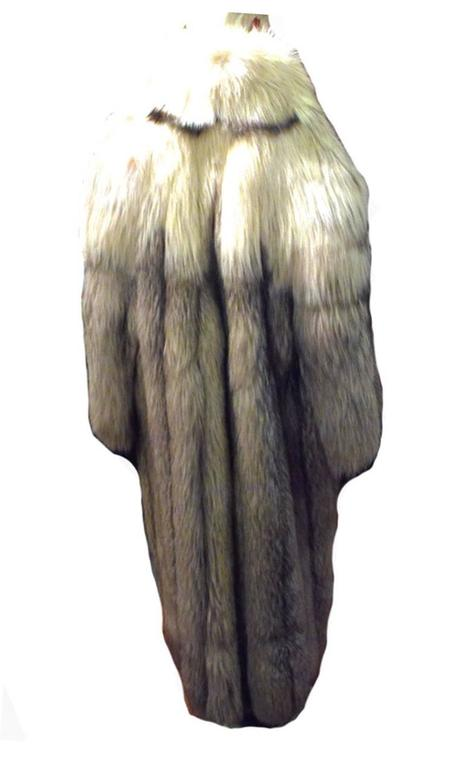 Stunning Womens Blue Fox Fur Coat Size Large-rare 3