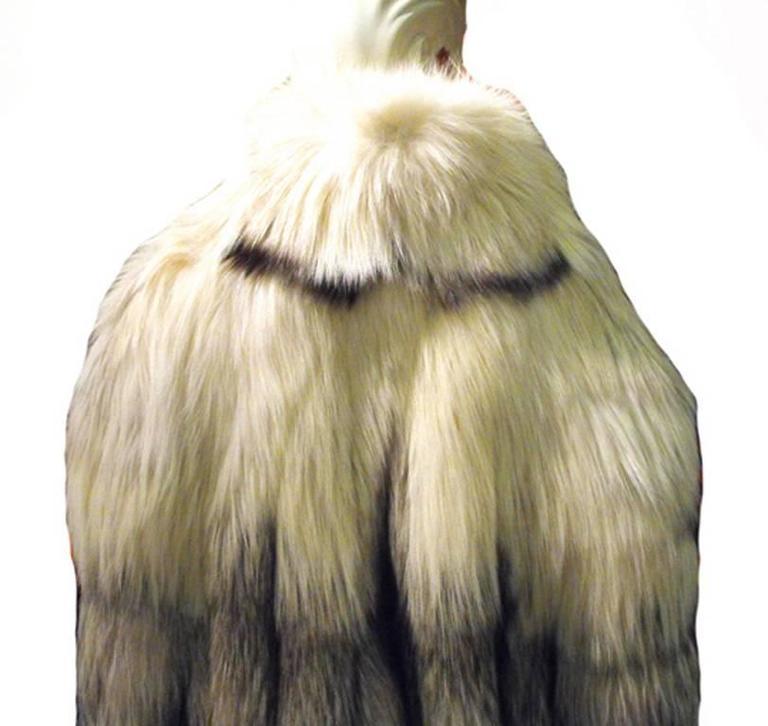 Stunning Womens Blue Fox Fur Coat Size Large-rare 4