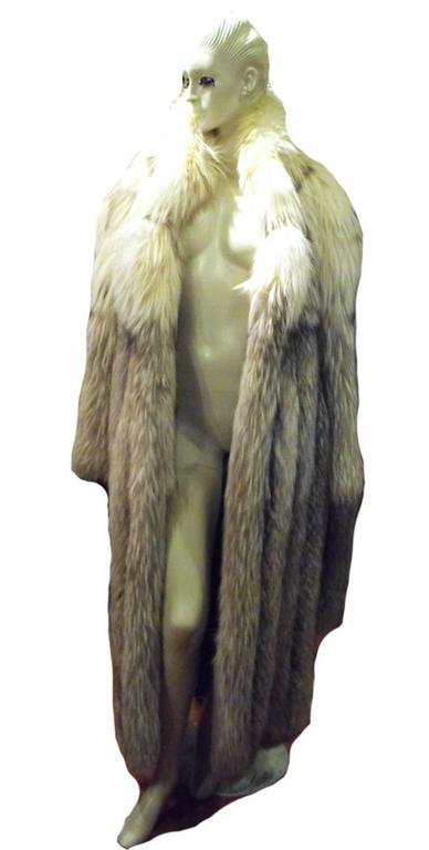 Stunning Womens Blue Fox Fur Coat Size Large-rare 6