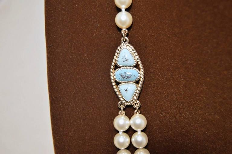 Chanel Pearl Necklace With Turquoise and Burgundy Stones In Excellent Condition For Sale In Philadelphia, PA