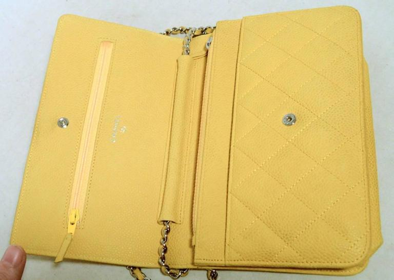 Chanel Mustard Yellow Leather Wallet On A Chain Woc 4