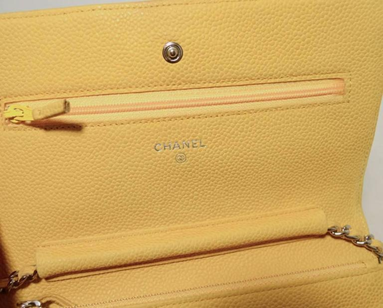 Chanel Mustard Yellow Leather Wallet On A Chain Woc 7