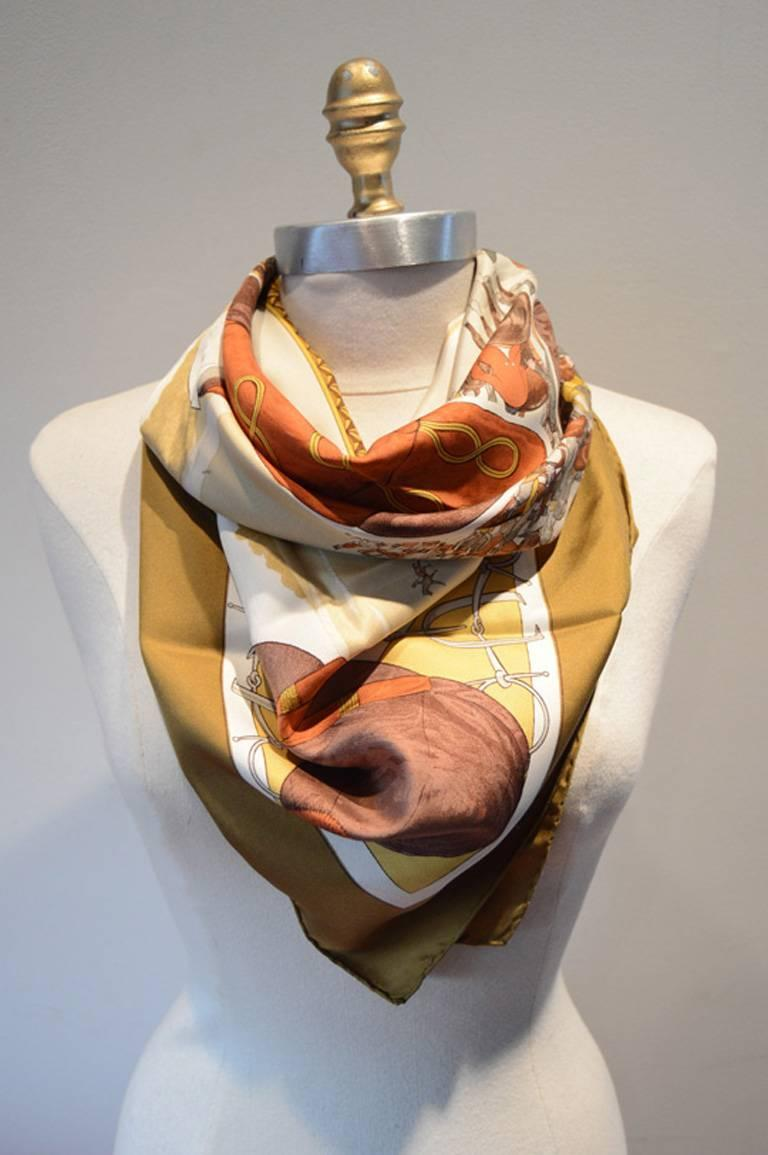 hermes vintage on epsom downs silk scarf for sale at 1stdibs