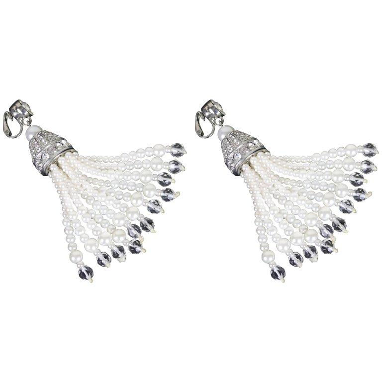 fb08bd33c Kenneth Jay Lane Pair Tassel Earrings-Silver, Faux Pearl, CZ ,Crystal For