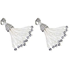 Kenneth Jay Lane Pair Chandelier Earrings Faux Pearl CZ and Crystal