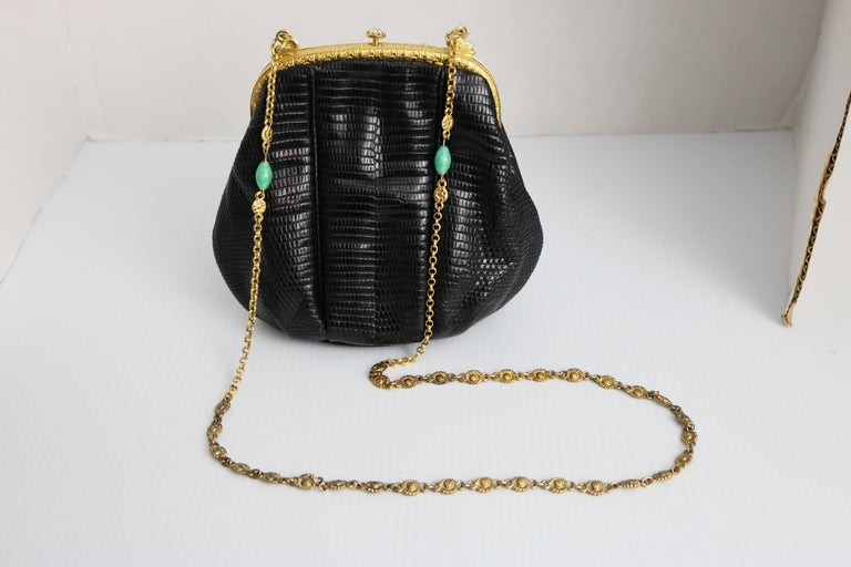 Women's Jeweled Enamel Trim c.1925- 24 K Gold Plate Frame Black Lizard Handbag-A Treasur For Sale
