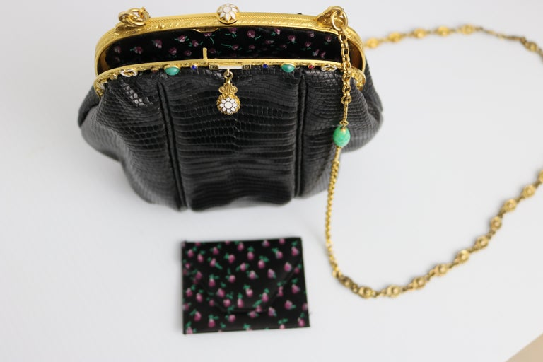 Jeweled Enamel Trim c.1925- 24 K Gold Plate Frame Black Lizard Handbag-A Treasur For Sale 1