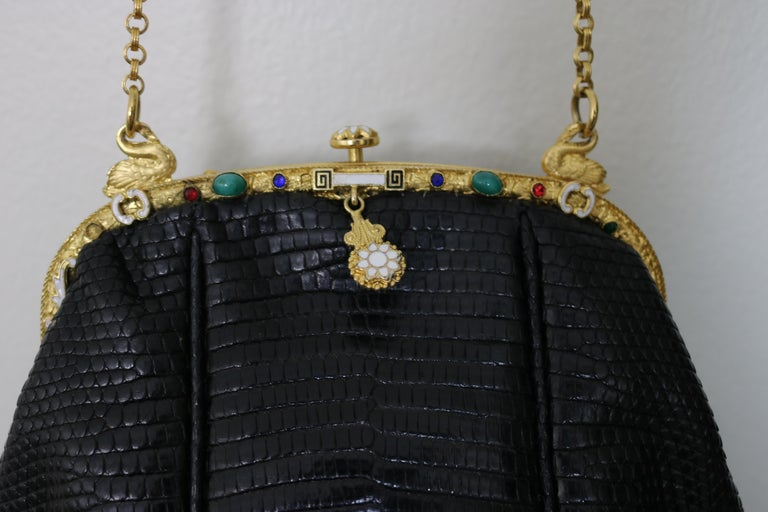 Jeweled Enamel Trim c.1925- 24 K Gold Plate Frame Black Lizard Handbag-A Treasur For Sale 3