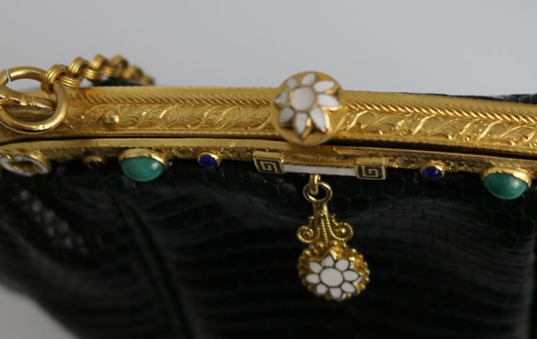 Jeweled Enamel Trim c.1925- 24 K Gold Plate Frame Black Lizard Handbag-A Treasur For Sale 5