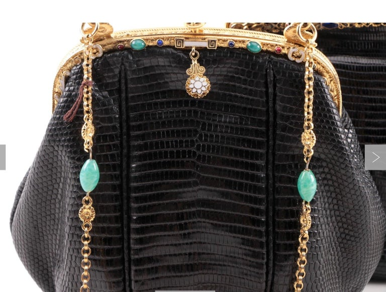 Jeweled Enamel Trim c.1925- 24 K Gold Plate Frame Black Lizard Handbag-A Treasur For Sale 7