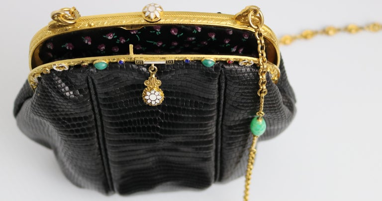 Jeweled Enamel Trim c.1925- 24 K Gold Plate Frame Black Lizard Handbag-A Treasur For Sale 8