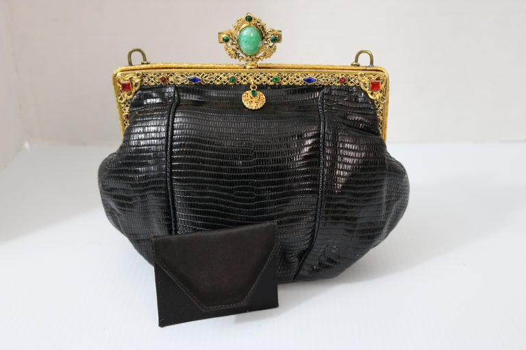 Jeweled 22K Gold Plate c.1925 Handbag Frame Black Lizard Evening Bag ,a Treasure In Good Condition For Sale In West Palm Beach, FL