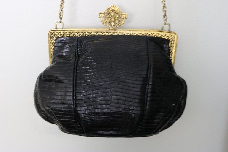 Jeweled 22K Gold Plate c.1925 Handbag Frame Black Lizard Evening Bag ,a Treasure For Sale 1