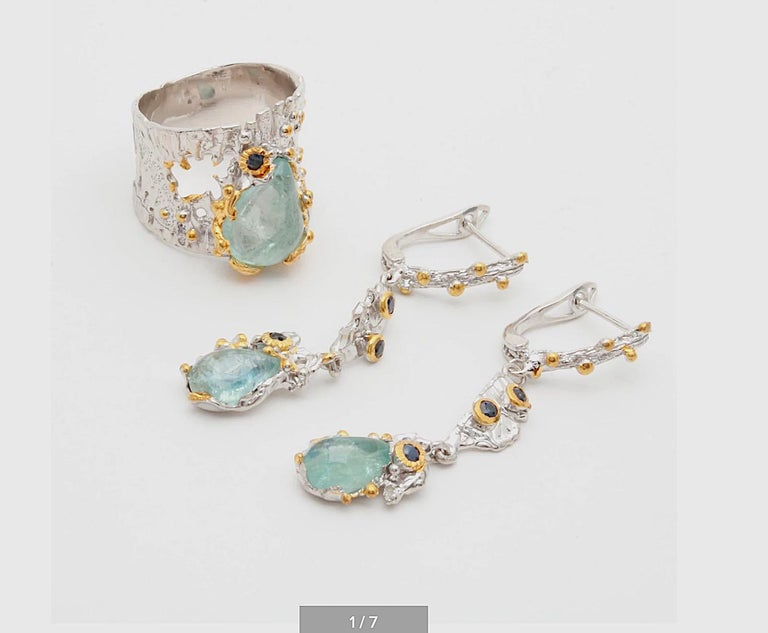 Women's Brutalist Sterling Silver Gemstone Earrings with Aquamarine,Sapphire,Gold Wash For Sale