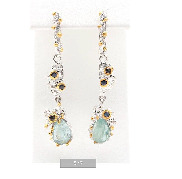 Brutalist Sterling Silver Gemstone Earrings with Aquamarine,Sapphire,Gold Wash For Sale 1