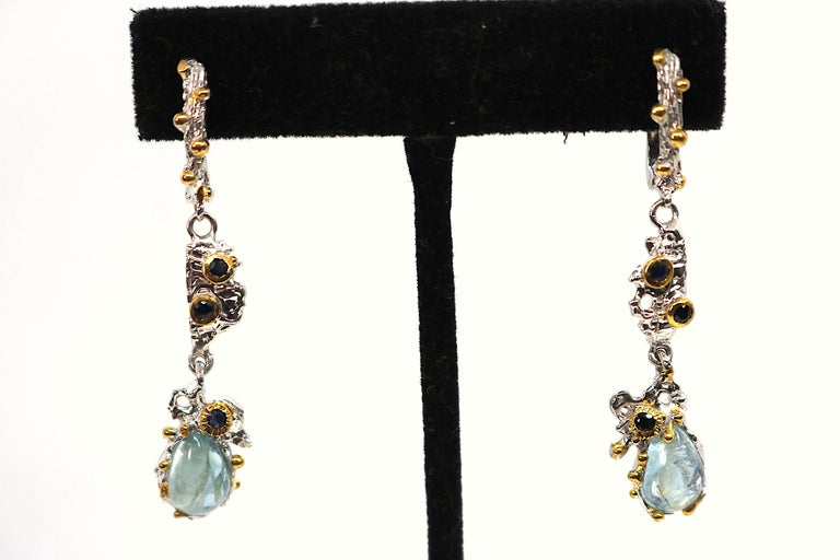 Artist Brutalist Sterling Silver Gemstone Earrings with Aquamarine,Sapphire,Gold Wash For Sale