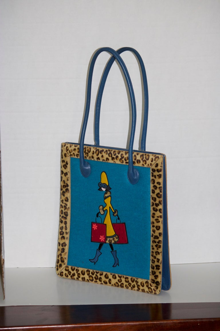 Rare Vintage Adorable Nicole Miller Collection Novelty Handbag Of Embroidered Fashionista Ping With Two