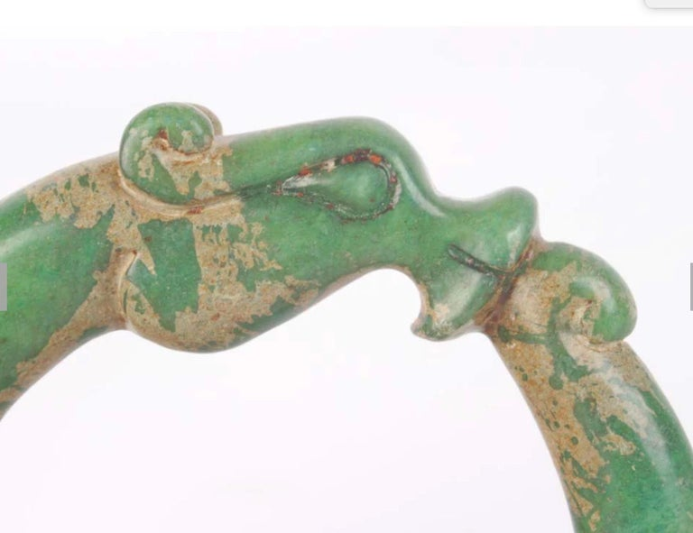 Archaic Chinese Green Jade Hand Carved Dragon Bracelet