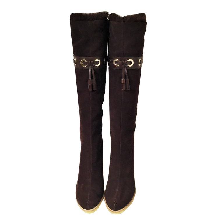 Women's Tom Ford for Gucci Mink Suede Ad Boots Sz 10.5 For Sale