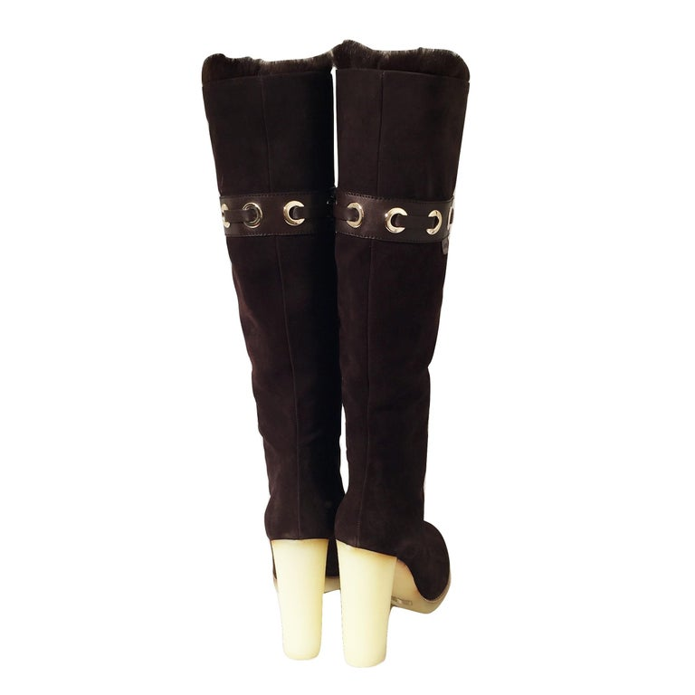Tom Ford for Gucci Mink Suede Ad Boots Sz 10.5 For Sale 2