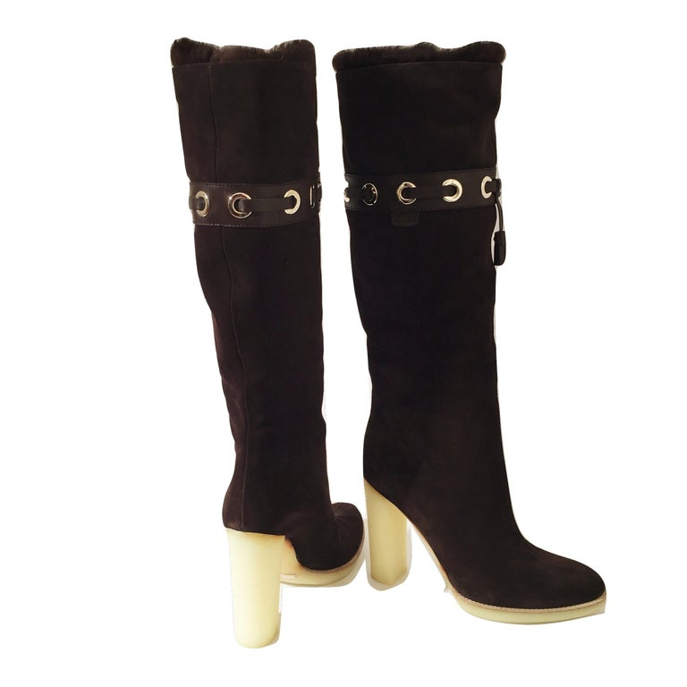 Tom Ford for Gucci Mink Suede Ad Boots Sz 10.5 For Sale 4
