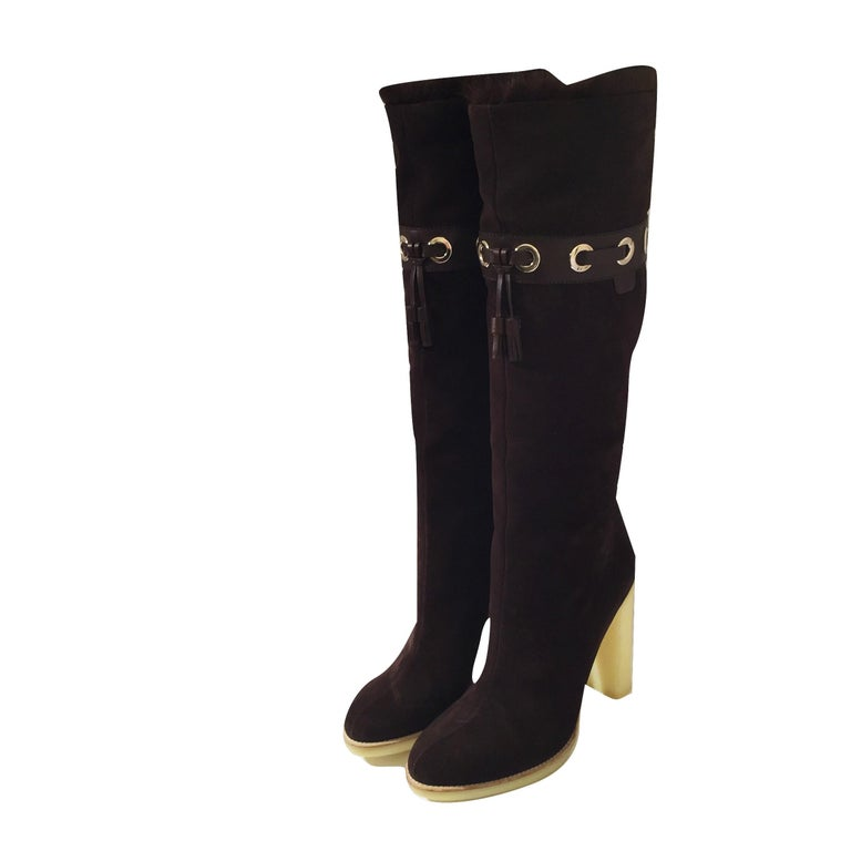 Tom Ford for Gucci Mink Suede Ad Boots Sz 10.5 For Sale 3