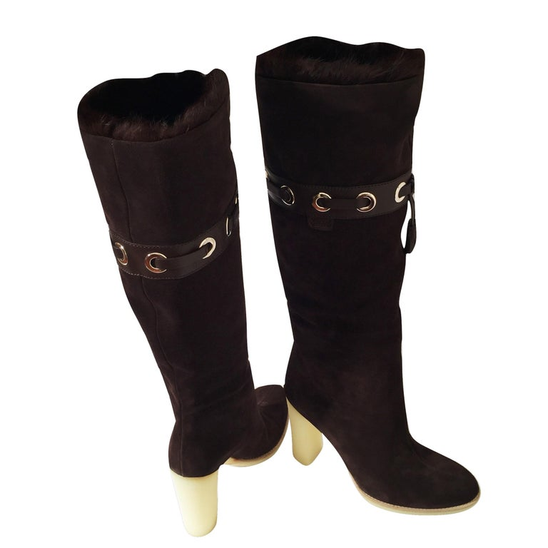 Tom Ford for Gucci Mink Suede Ad Boots Sz 10.5 For Sale 5